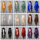 Hot Sell New Fashion Long Multicolor Wavy Curly Women's Lady's Hair Wig Wigs+Cap