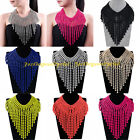 Fashion Multicolor Print Metal Tribal  Tassels Statement Pendant Collar Necklace
