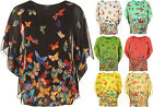 New Womens Plus Chiffon Sheer Lined Butterfly Pattern Print Ladies Top 14-20