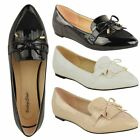 WOMENS LADIES FLAT DOLLY PUMPS SHOES BALLET BOW CLASSIC OFFICE WORK SIZE