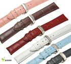 18~24mm Leather Cowhide Push Butterfly Brushed Stainless Steel Clasp Watch Strap