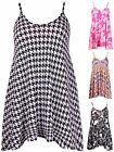 Womens Plus Size Dogtooth Check Print Ladies Stretch Swing Flared Dress Long Top