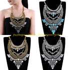 Vintage Gold Silver Metal Clear Rhinestone Grass Statement Pendant Bib Necklace