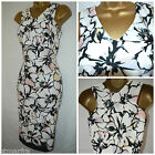 NEW F&F SCUBA DRESS SHIFT PENCIL PINK CREAM BLACK FLORAL SUMMER SIZE 6 - 18