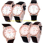 Men Women Casual Leather Strap Band Date Analog Crystal Dial Quartz Wrist Watch