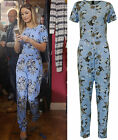 New Womens Floral Print Zip Pocket Ladies Short Sleeve All In One Jumpsuit 8-14