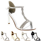 Womens T-Bar Open Toe Prom Wedding Bridal Low Mid Heels Sandals Stilettos UK 3-9