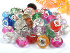 Mixed Color Acrylic Crystal Beads Charms Silver Core Fit European Bracelets 14MM