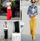Women Lady chiffon cotton Pleated Retro Long Dress Maxi Skirt Elastic Waist