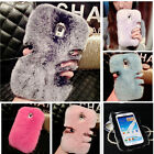 Bling Luxury Real Rabbit Fur Warm Diamond Case Cover For Galaxy Note5/4 S7 S6 S5