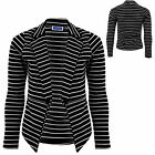 Womens Black White Stripe Long Sleeve Open Front Zip High Low Blazer Jacket