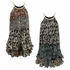 GIRLS ANIMAL PRINT 2 LAYER PEARL NECKLINE DRESS KIDS CHIFFON PARTY TOP 3-14 YEAR