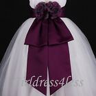 Plum Eggplant Purple Sash Wedding Flower Girl Dress Bow 12M 18M 2 4 6 8 10 12
