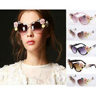 Retro Large Cat Eye Soft Handmade 3D Rose Floral Flower Decor Women Sunglasses