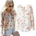Women Flying Birds Chiffon Blouse Shirt Casual Long sleeve Shirts Fashion 2015