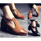 Womens Splice Pointed Toes Cuban Low Heels Ankle Strap Platform Pumps Shoes