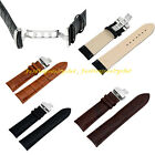 Leather Watch Strap Band Replacement Butterfly Clasp Buckle 18-24 mm