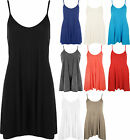New Womens Plain Basic Strappy Casual Flared Short Ladies Swing Dress 8-14