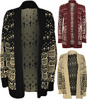New Womens Owl Print Pattern Long Sleeve Open Top Ladies Knitted Cardigan 8 - 14