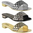 LADIES WOMENS LOW BLOCK HEEL DIAMANTE GEM EVENING SANDALS SUMMER FLAT MULES SIZE