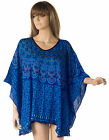 Printed Blue Tunic Poncho top oversized size blouse 18 20 22 24 26 boho