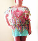 LADIES 2 IN 1 CAP SLEEVED OR BANDEAU 100% COTTON LONG SUMMER BEACH TOP 10-16