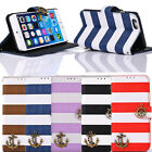 Stripes Anchor Rudder Wallet Flip Case чехол For iphone 6 Plus 5.5 Inch Trendy