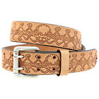 Double Hole 1 1/2 Tan Harness Leather Belt Skull Design Matching Buckle