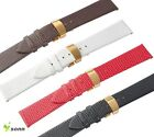 12~20mm Leather Cowhide Gold Deployment Stainless Steel Clasp Thin Watch Strap