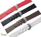 12~20mm Leather Cowhide Push Butterfly Stainless Steel Clasp Thin Watch Strap
