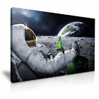 Astronaut with Beer Moon & Earth Canvas Modern Home Office Wall Art 9 size