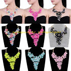 Fashion Gold Chain Print Resin Cluster Flower Statement Pendant Bib Necklace