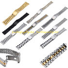 Men Women Stainless Steel Straight End Clasp Buckle Wrist Watch Band 14-24 mm