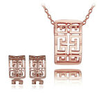 Chinese Retro Vintage style 18K Gold Plated Necklace  Earrings Jewelry  Set