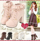 Lotia Sweet Womens Round Toe Lace Up Chunky Heel Ankle Boots Strappy Shoes Sz