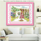 11/14CT 2-size Home Decor Cross Stitch Kit Looking Cat Girl Pattern Embroidery