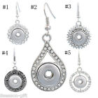 1Pair Dangle Earrings Back Fit Snap Mini Button Rudder Rhinestone DIY