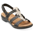 Clarks Womens LEISA DAISY Fisherman Strappy Sandals Black Leather 26105192