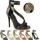 WOMENS LADIES HIGH HEEL STRAPPY BUCKLE SANDALS PARTY ANKLE CUFF STILETTOS SIZE