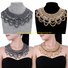 Fashion Charm Tribal Gold Ash Black Chain Chunky Statement Collar Bib Necklace