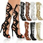 LADIES WOMENS KNEE HIGH LACE UP CUT OUT SHOES HEELS GLADIATOR SANDALS SIZE