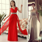 Sexy Bridesmaid Long Chiffon Formal Evening Party Ball Gown Prom Wedding Dress