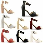 WOMENS LADIES HIGH CHUNKY HEEL PEEP TOE ANKLE STRAPPY SANDALS SHOES SIZE UK