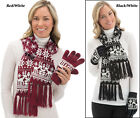 Collections Etc Knit Snowflake Winter Gloves And Scarf Set