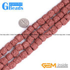 "Free Shipping Cloumn Lava Rock Beads Jewelry Making Beads Strand 15"" 12x14mm"