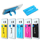 Silicone Stick Credit Card Holder Slot Stand Shell Case For Smart Phone Trendy
