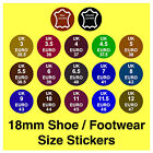 Shoe Size Stickers UK  Euro + Real / Genuine Leather Labels Trainers Boots etc