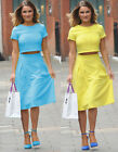 Blue Yellow Chic Women Skirt Two pieces Midi Pleated Dress Club Outfit Fashion