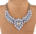 New White Crystal Chain Charm Choker Chunky Statement Necklace Jewelry Pendant