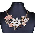 Fashion Flowers leaves Cluster Chunky Statement Bib Necklace Jewelry Chain Gift